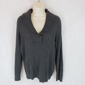 Karen Scott L Gray Pullover Shawl Collar Sweater